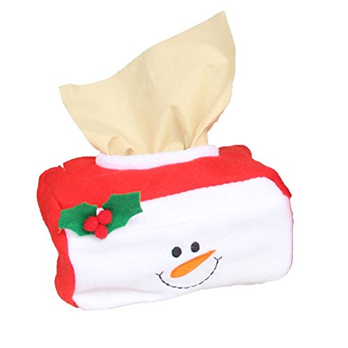 dxS8hhuo Tissue Storage | Lovely Santa Snowman Applique Christmas Decoration Rectangle Tissue Box Cover - Snowman