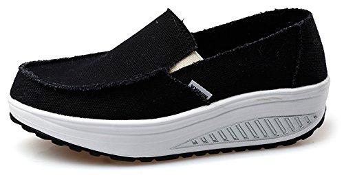 Cinture Altalena Ausom Womens Scarpe Di Tela Casual Slip-on Perdere Peso Fitness Camminando Sneaker Nero