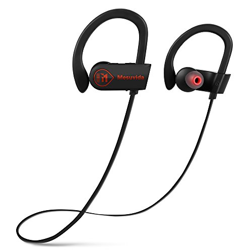 Sports Bluetooth Headphones in Ear, Mesuvida IPX7 Waterproof Noise Canceling Earphones Best Portable Stereo Music Bass Cordless Sweat Proof Earbuds with Microphone Running 9 Hour for Gym Workout