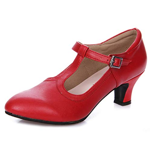 Hutt Señoras y señores, el tamaño del Cuero de Vaca Adulto es DE 22.0 cm a 25.5 cm y 5.5 cm de Zapatos de Baile Latino Suaves de Verano Rojo