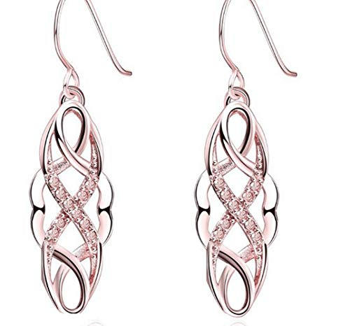 JUDE Silver Gold Plated Cross Rhinestones Earrings Tree Vine Style Dangle Hoop Drop (Rose Gold) ()
