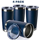 ONEB 20oz/4Pack Double Wall Vacuum Insulated Travel Mug, Stainless Steel Tumbler with Lid, Durable Powder Coated Insulated Coffee Cup for Cold & Hot Drinks (Navy, 20oz-4 Pack)