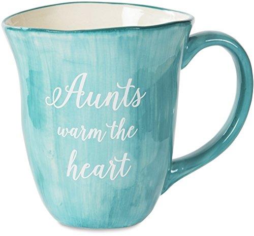 Pavilion Gift Company EmmalineAunts Warm the Heart Ceramic Coffee Mug, 16 oz, Teal