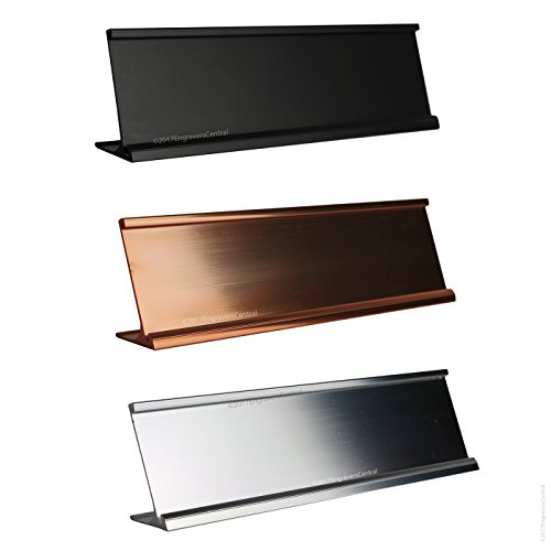 (Top Selling 2x8 Office Desk or Tabletop Name Plate Holders - Fits Standard Size 2x8 NamePlates (Not Included), 3 Color Options to Choose from - Gold, Silver or Black.)