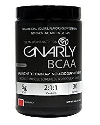 Gnarly BCAA Workout Supplement    All Natural Muscle Recovery (Fruit Punch)
