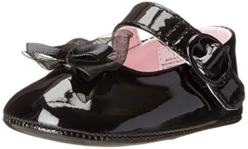 Baby Deer Patent SM With Bow Mary Jane (Infant),Black,1 M US (Patent Crib Shoes)