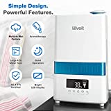 LEVOIT Cool Mist Humidifiers, 4.5L Ultrasonic Humidifier for Bedroom and Babies with Humidity Monitor, Vaporizer for Large Room, Whisper-Quiet, Auto Shutoff, 36 Hrs Working Time, 2-Year Warranty
