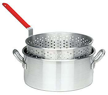 Bayou Classic 10 Quart Aluminum Fry Pot & Basket With Cool Touch Handle 0