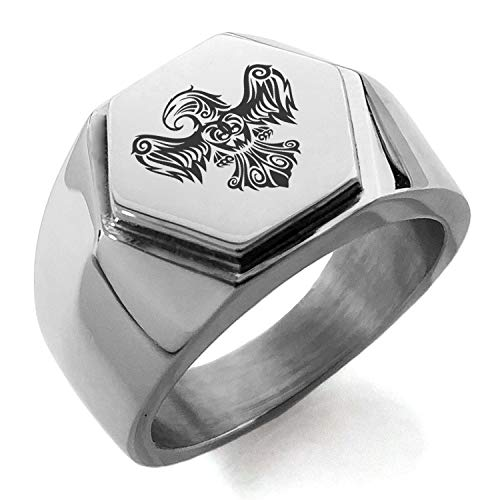 (Stainless Steel Aztec Power Strength Courage Rune Hexagon Crest Flat Top Biker Style Polished Ring, Size 11.5)