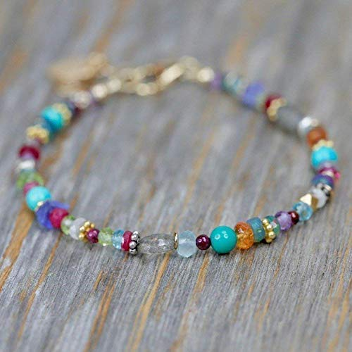 Multi-Color Gemstone Bracelet Turquoise Opal Ruby Mixed Metal - 7