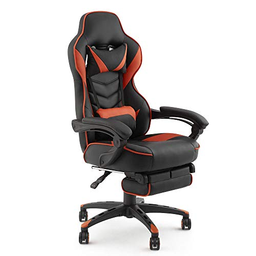 KYOTECH Gaming Chair Ergonomic Racing Style Recliner – PU Leather High Back Office Computer Chair with Footrest, Office or Gaming Chair(Orange)