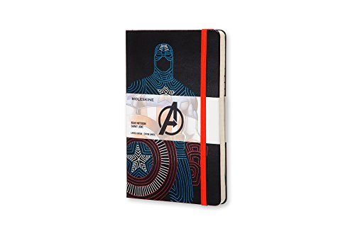 Moleskine the Avengers limited Edition Notebook, Large, Ruled, Black, Captain America, Hard Cover (8055002852722)
