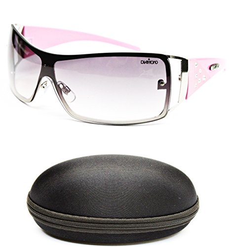 D08-cc Diamond Eyewear Shield Rimless Sunglasses (135 Silver/Pink, - Eyewear Cc