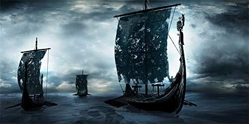 Halloween Viking Ship (AOFOTO 10x5ft Three Pirate Sailing Ship at Ocean Night Backdrop Happy Halloween Party Decorations Fantasy Galleon Viking Dark Magical Evil Corsair Sea Rover Background Photo Studio Props)
