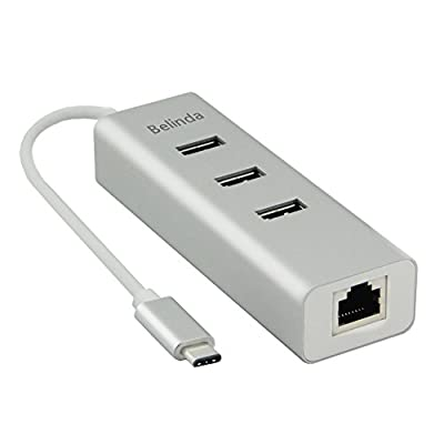 Belinda USB-C to 3-Port USB 3.0 Hub with Ethernet Adapter for USB Type-C Devices Including the new MacBook, ChromeBook Pixel and More (Silver Aluminum)