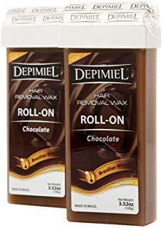 Chocolate Formula with Cacao Extract Roll On Wax Cartridge System Hair Removal - Depilatory Roller Wax for Body (Legs & Arms) Waxing 3.52 Oz (2 Pack)