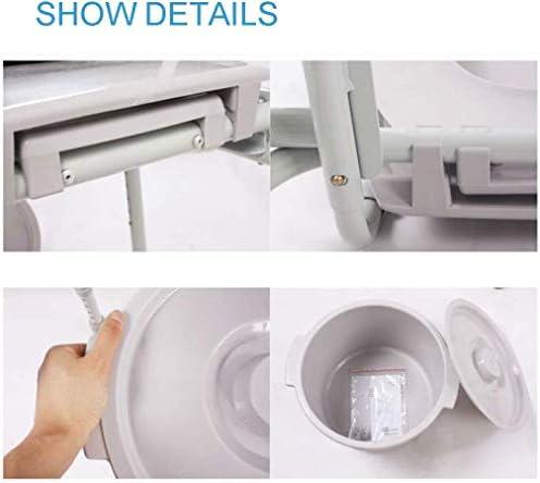 GBX Beweglicher Faltbare Durablefolding Potty Wc-Stuhl, Nacht Commodes Chair (Stahlrohr) Mit Armlehnen, Bad Anti-Rutsch-Einstellbare Höhe, Mit Abnehmbaren Fußstützen