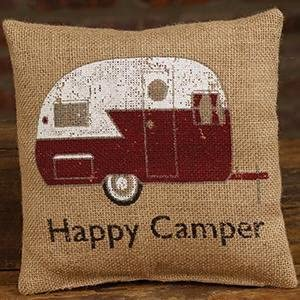 The Country House Collection Red Happy Camper 8 x 8 Burlap Decorative Throw Pillow