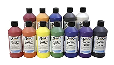 Sax True Flow Heavy Body Acrylic Paint Set, Pints, Assorted Colors, Set of 12-439304