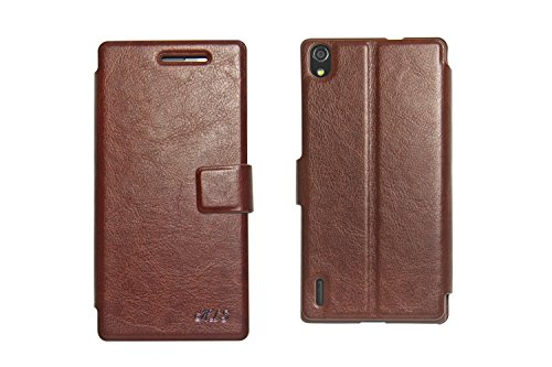 Hapurs Folio Stand Cover Case PU Leather Protective Case with Credit Card Holder Socket, Wallet Type Magnet Design Flip case cover for Huawei Ascend P7