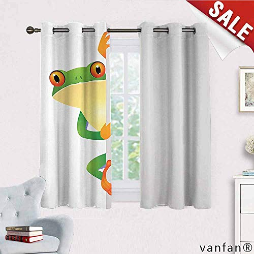Reptile Decor Curtains for Living Room,Funky Frog Prince