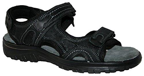 Black con sandali suola croce e pelle imbottita chiusure Leather anteriore tomaia in uomo spalline e in velcro soletta xzR8awwn1H