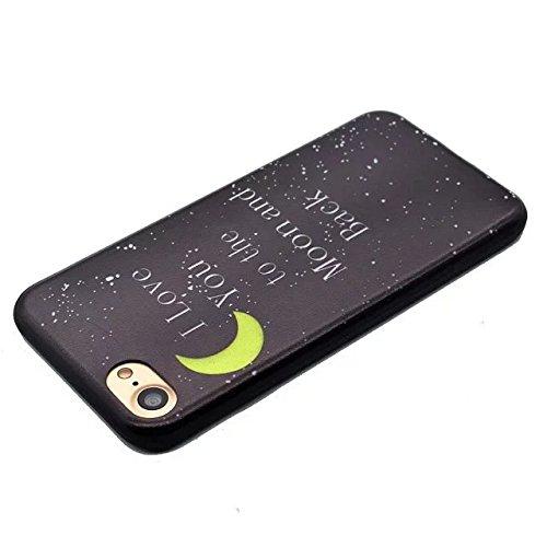 Etsue Caso para iPhone 6 Plus,6S Plus(5.5 Pouce),Funda de silicona TPU Negro Fondo Colorido Patrón de la Caja Ultrafina para iPhone 6 Plus,6S Plus(5.5 Pouce),Suave Diáfano Negro Patrón para iPhone 6 P Luna