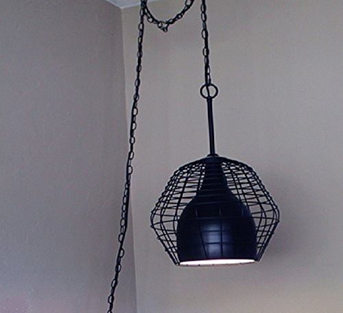 Black Metal Wire Hanging Dome Pendant Chandelier Swag Plug-In Lamp Matte Finish