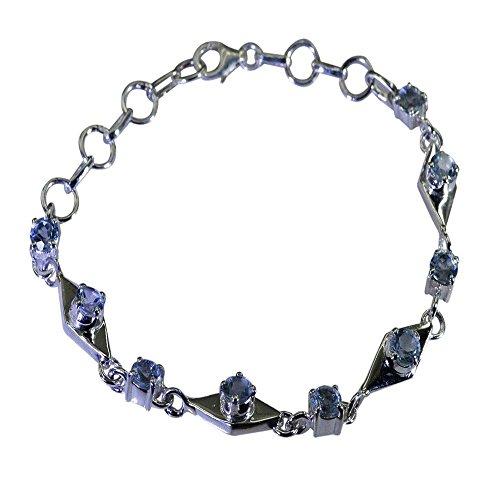 Natural Blue Topaz Silver Bracelet For Women December Birthstone Link Style Astrological L 6.5-8 Inch