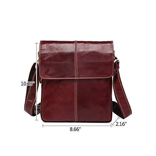 Leather Winered Casual Bag Crossbody Multipockets Strap Vintage Men Notag Adjustable With Shoulder Bag Mens Messenger Rwnq6pXx5S