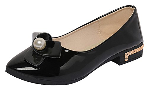 [T&Mates Womens Sweet Fashion Slip-on Faux Patent Leather Bow Beads Low Heel Loafers (7.5] (Traditional Russian Outfits)
