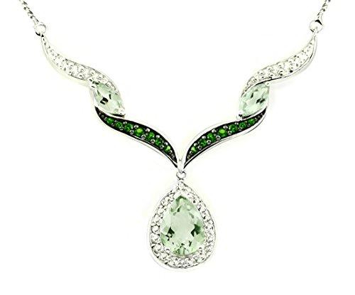 "RB Gems Sterling Silver 925 Pendant Necklace Genuine Gemstone Pear 12x8 mm with Rhodium-Plated Finish 18"" (prasiolite-Quartz)"