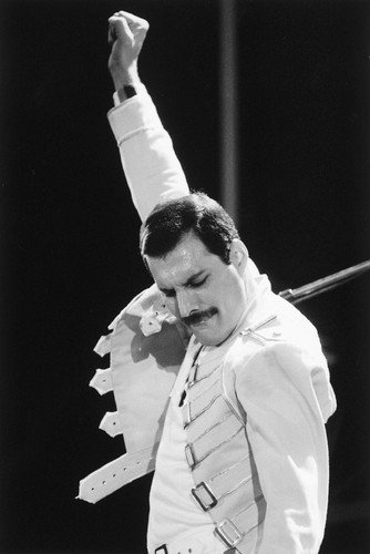Queen Freddie Mercury iconic pose fist in the air on stage 24X36 Poster from Silverscreen