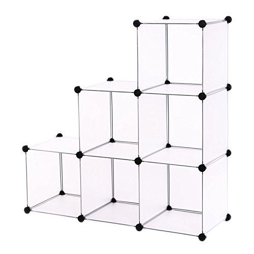 Songmics® DIY Regalsystem Raumteiler Stufenregal Standregal Badregal Regal Kleiderschrank Sideboard Schrank Weiß 96 x 96 x 31,5 cm LPC111S