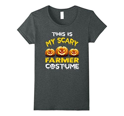 Womens This is My Scary Farmer Costume Halloween shirt Medium Dark (Farmer Wife Halloween Costume)