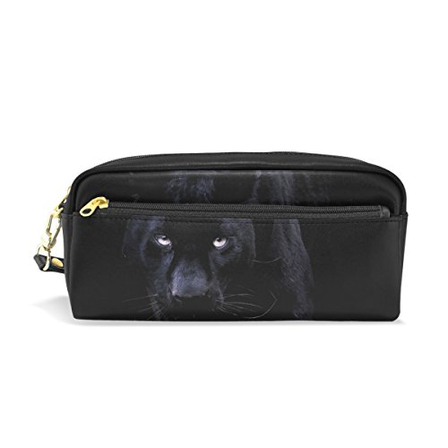 School Panthers Accessories - Black Panther Leather Student Pencil Case Pen Cosmetic Bag for Girls Makeup Pouch