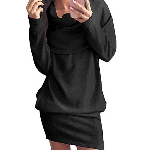 Col Noir Lâche Robe Partie En Forme Les Femmes Coolred Piles De Poche À Manches Longues