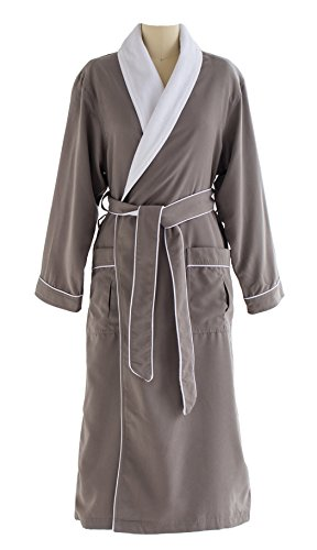 - Ultimate Doeskin Microfiber Bathrobe Lined In Terry - Luxury Spa Bathrobe for Women and Men - Smoke/White - Large