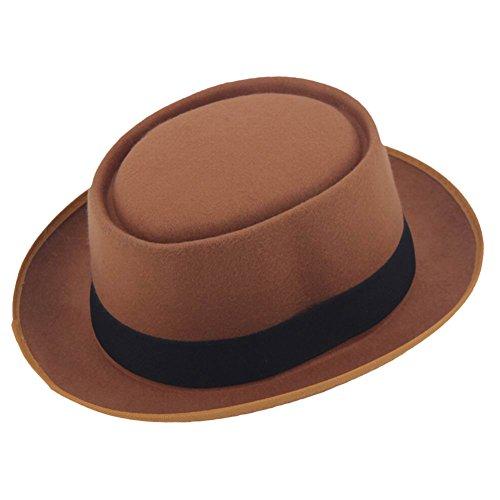 ZHENXIA Vintage Hard Felt Wool Pork Pie Hat Flat Top Rocker Fedora Cap Brown - Vintage Fedora