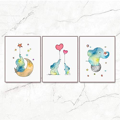 (Set of 3 Baby Elephant Blue Nursery Art Print Red Heart Balloon Moon Stars Night Sky Gender Neutral Kids Art Cute Animals Poster kids Bedroom Wall Decor 11x14inch IN Unframed)