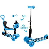 OUTCAMER Kids Scooter 3 Wheels Adjustable Height Beginner Kick Scooter with Removable & Adjustable Seat and LED Light Up Wheel for Children Boys Girls Age 2-10