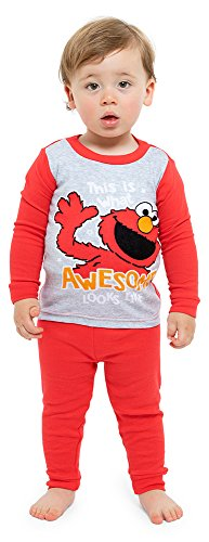 Sesame Street Boys Toddler 4-Piece Cotton Pajama Set, Red Seasame, 2T