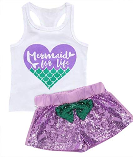 Kids Baby Girls Mermaid for Life Graphic Tank Tops Racerback Bowknot Sequins Shorts Summer Beach 2Pcs Set Size 4-5Years/Tag 120 (White)