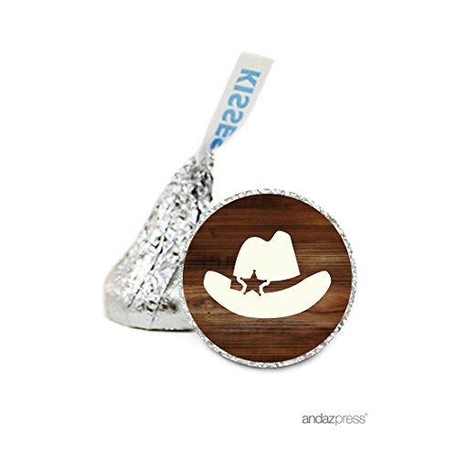 Andaz Press Chocolate Drop Labels Stickers, Birthday, Cowboy Hat Boy, 216-Pack, for Hershey's Kisses Party Favors, Gifts, Decorations
