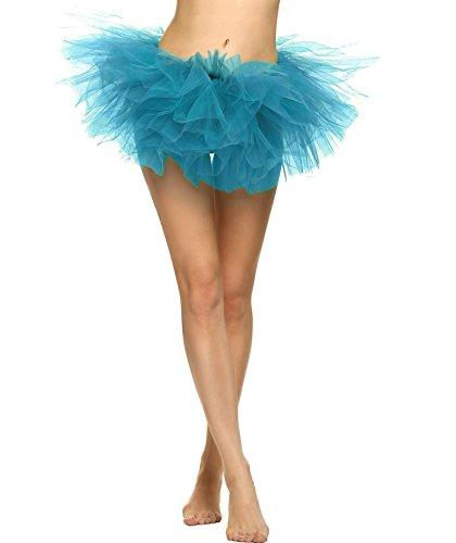 Plumsika Women Sexy Organza Tutu Party Dance Skirt Ballerina Dress Petticoat (Blue) (Clown Tutu Dress)