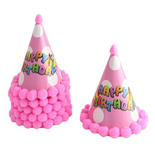 DealMux Dots Pattern Paper Cone festa de aniversário do Household Shaped Carta Strap Hat 6 PCS-de-rosa -
