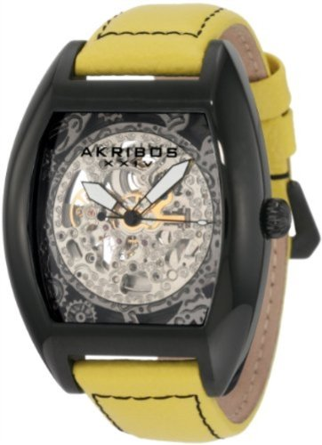 Akribos XXIV Men's AKR454YL Premier Skelton Automatic Tourneau Shaped Watch