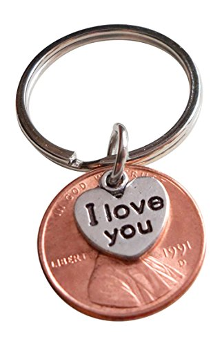 I Love You Heart Charm Layered Over 1991 US One Cent Penny Keychain, 27 Year Anniversary Gift, Couples Keychain