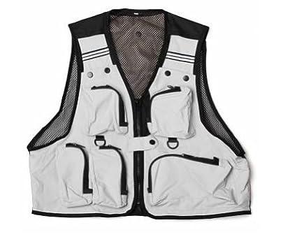 Unisex Blanco Multi bolsillos chaleco al aire libre/pesca caza Camping chaqueta senderismo pescado volar Gadget herramientas tienda ...