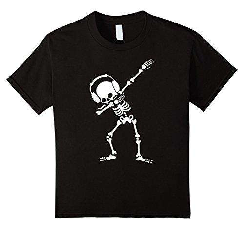Costumes For Kids Dance Hip Hop (Kids Dabbing Skeleton Dabbin Dab Hip hop funny Halloween Shirt 12 Black)